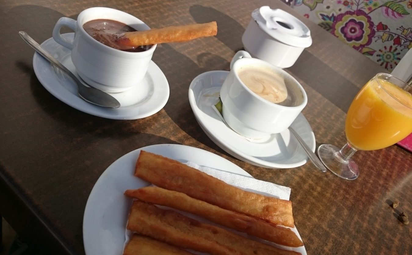 Breakfast Spanish Style: Churros, Coffee and Freshly Squeezed orange juice