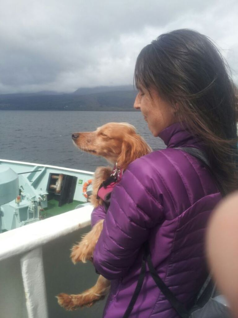 enjoying the breeze on the ferry to arran