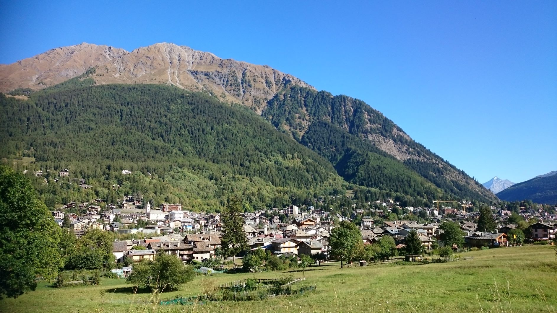 Courmayeur Italy from a distance the perfect spot for Holidays in the Alps