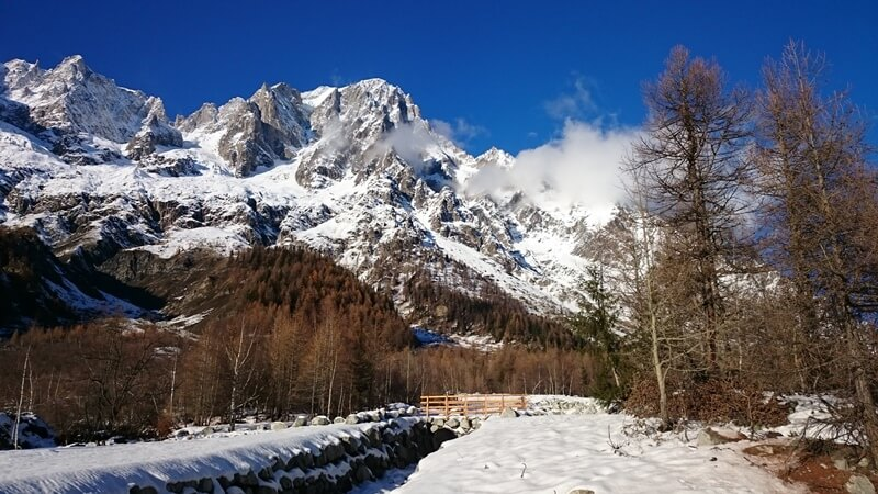 Rivers,mountains and snow in Val Ferret, perfect