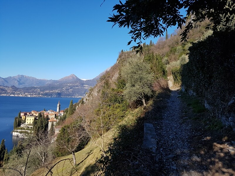 Views back down to Varenna on the Sentiero del Viandante