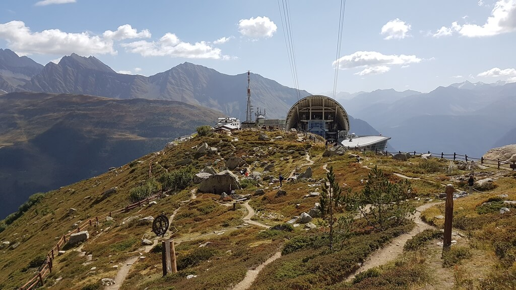 Views over the  Saussurea alpine botanical gardens at the Pavillon mid-station  at the Skyway Monte Bianco Cable Car in October